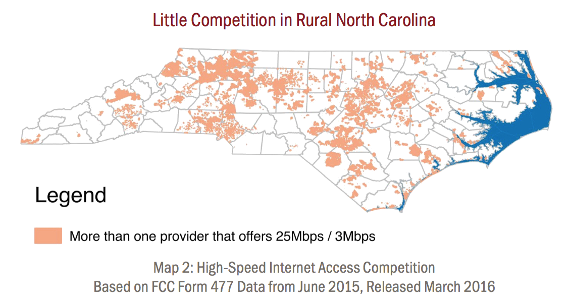 Map of access to two or more broadband providers in North Carolina