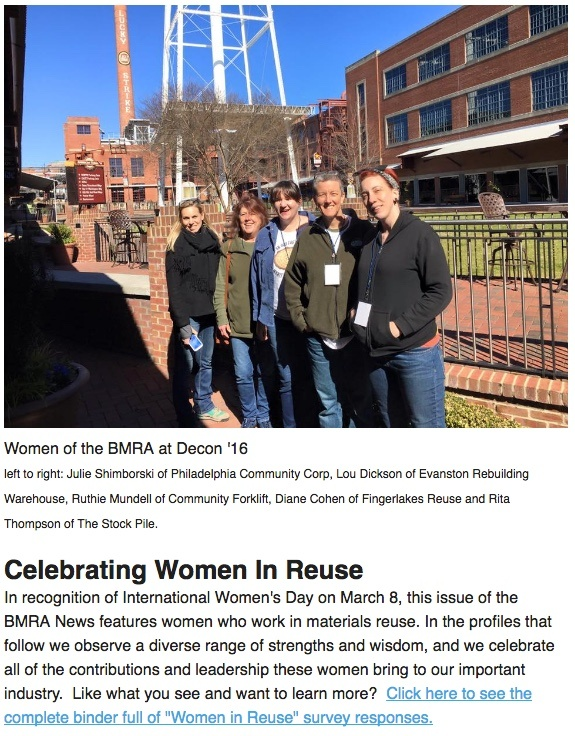 Hear, Hear for Women in Deconstruction and Reuse: BMRA Honors International Women's Day