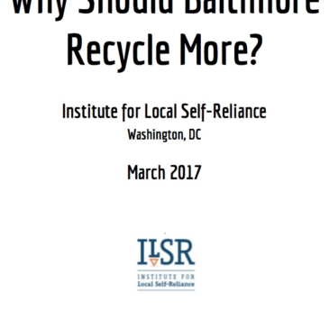 What is Baltimore's Garbage Future? Economic and Public Health Considerations