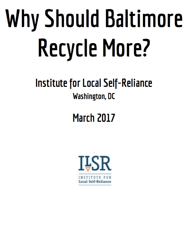 Report: Why Should Baltimore Recycle More?