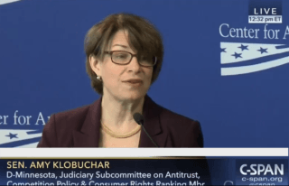 Photo: Sen. Amy Klobuchar delivering a speech on antitrust.