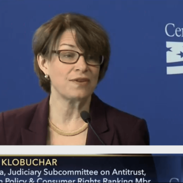 Photo: Sen. Amy Klobuchar delivering a speech on antitrust.