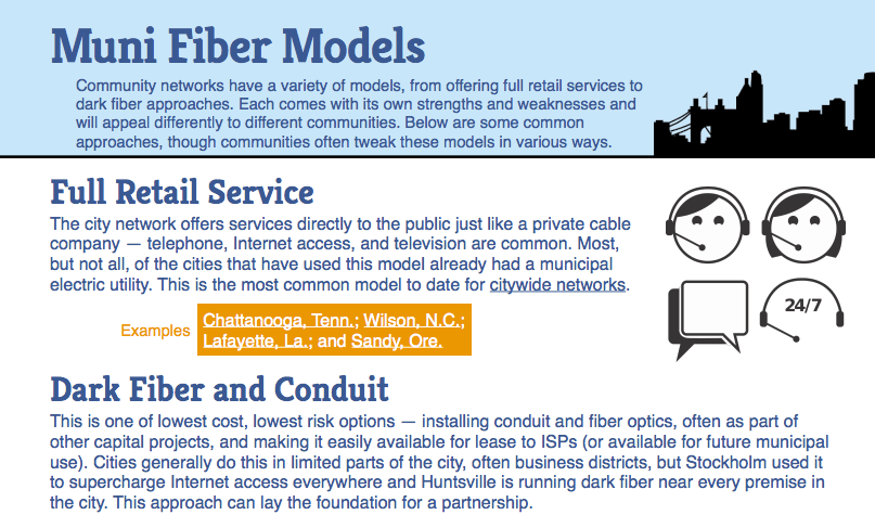 """Muni Fiber Models"" Community Internet Connectivity Fact Sheet"