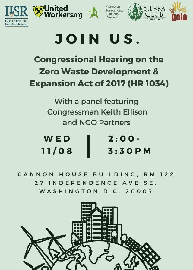 Briefing on Zero Waste and Environmental Justice with Representative Keith Ellison