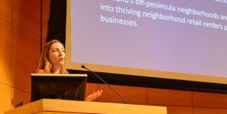 Photo: Stacy Mitchell speaking.