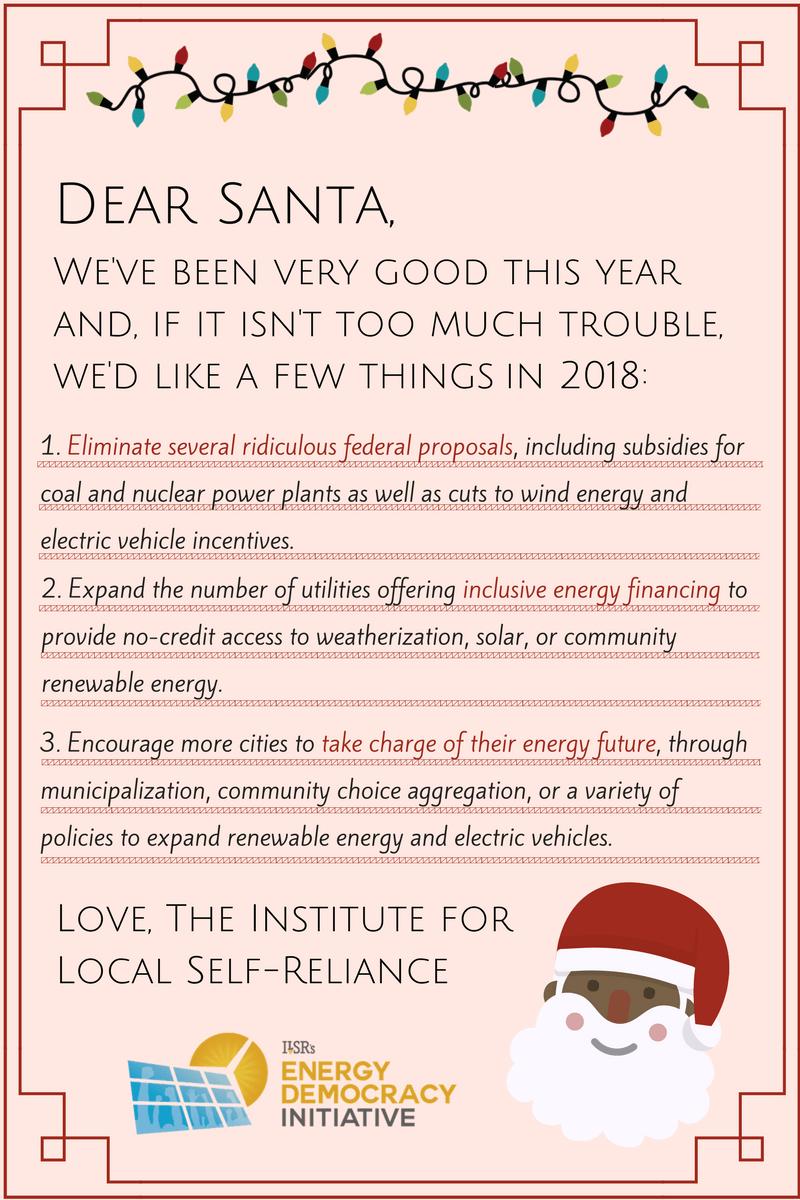 Dear Santa … ILSR\'s Annual Energy Policy Wish List! | CleanTechnica