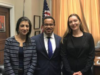 Photo: Stacy Mitchell, Rep. Ellison, and Lina Khan.