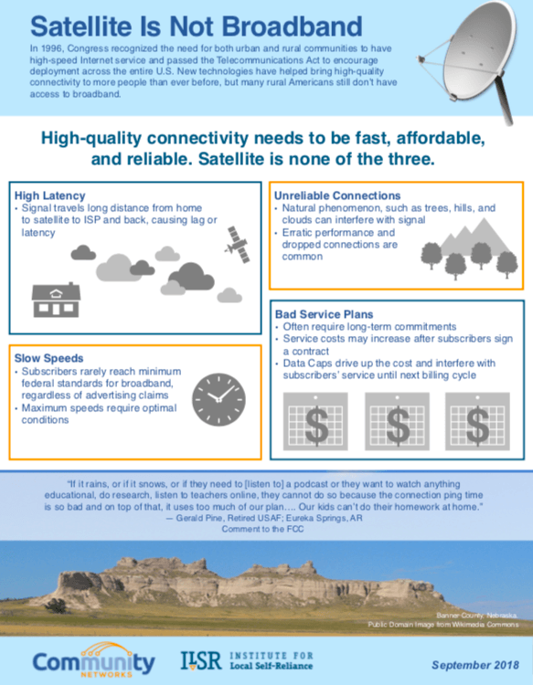 "Fact Sheet Explains Why ""Satellite Is Not Broadband"""