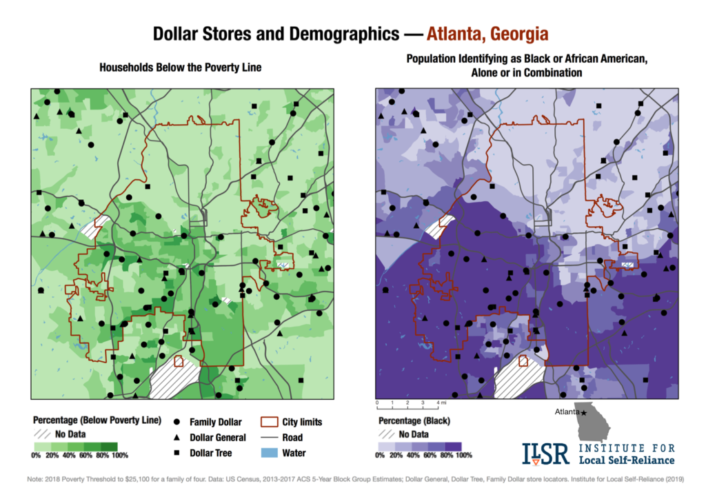 Dollar Stores and Demographics map — Atlanta, Ga.