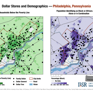 Dollar stores and demographics maps — Philadelphia, Pa.