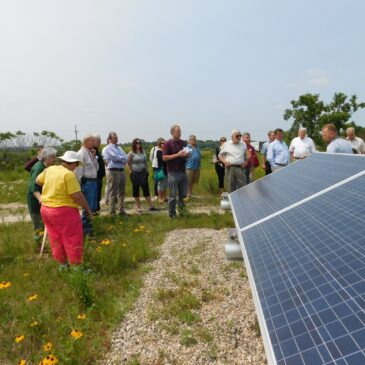 A group of people look at solar panels in a field