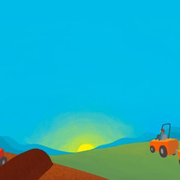 Graphic of bright blue sky, sunrise on the horizon, and two tractors, one turning compost windrows, and the other spreading compost onto a green field
