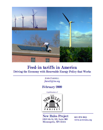 Report: Feed-in Tariffs in America – Driving the Economy with Renewable Energy Policy that Works