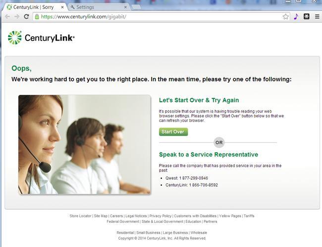 CenturyLink's Website Wasn't Alerted to New Gig Service…